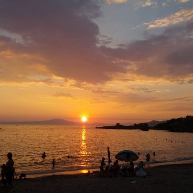 Stoupa view of sunset from Patriko cafe